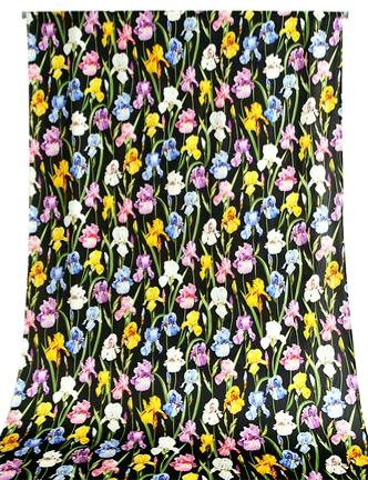 Iris Print Fabric Soft Silk Satin all Over on Black Background/Silk Satin Fabric Beautiful Quality/Haute Couture Fabric 2 ⋆ Rozitta Rapetti