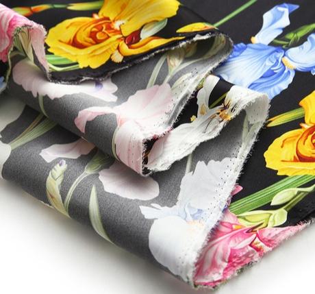Iris Print Fabric Soft Silk Satin all Over on Black Background/Silk Satin Fabric Beautiful Quality/Haute Couture Fabric 3 ⋆ Rozitta Rapetti