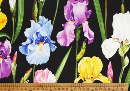 Iris Print Fabric Soft Silk Satin all Over on Black Background/Silk Satin Fabric Beautiful Quality/Haute Couture Fabric 13 ⋆ Rozitta Rapetti