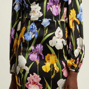 Iris Print Fabric Soft Silk Satin all Over on Black Background/Silk Satin Fabric Beautiful  Quality/Haute Couture Fabric