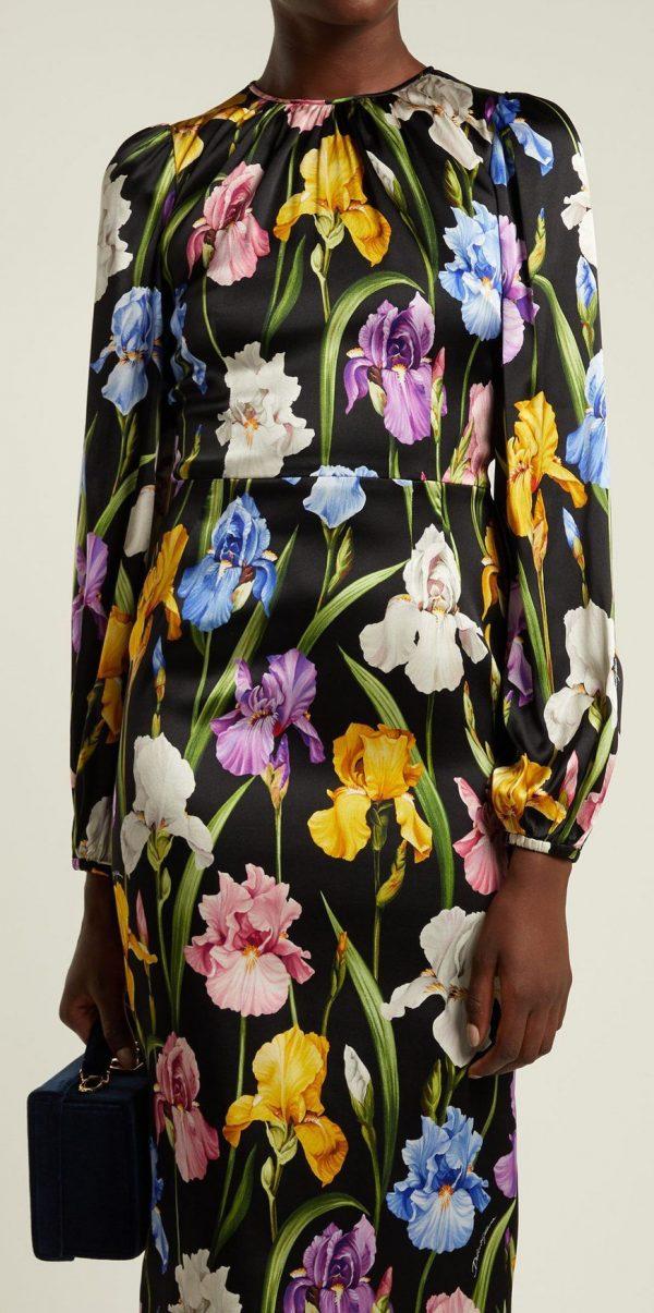 Iris Print Fabric Soft Silk Satin all Over on Black Background/Silk Satin Fabric Beautiful Quality/Haute Couture Fabric 1 ⋆ Rozitta Rapetti