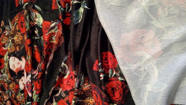 Designer Jacquard Mother of God Print Fabric