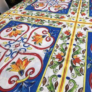 Italian Majolica Fabric/ Sicilian Pattern 100% Cotton Fabric/Dress Cotton Sicilian print/Designer fabric/Italian pottery print cotton fabric