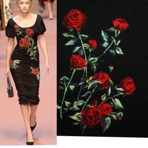 Italian Designer Jacquard Hand Painted Red Roses Fabric