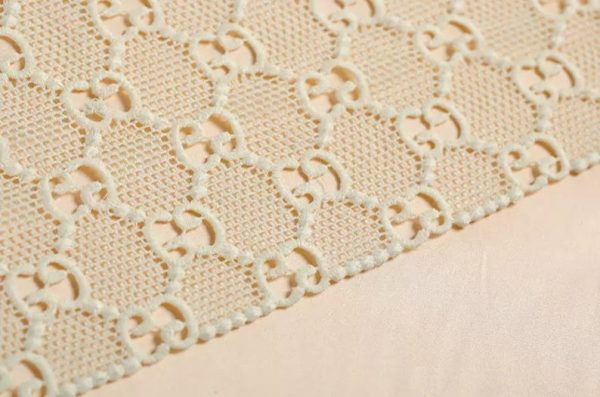 Gucci Embroidery Lace #2 in White/ Jacquard Polyester Designer Gucci Fabric/Gucci Fabric/Jacquard Couture Lace Fabric Also Available in Red 9
