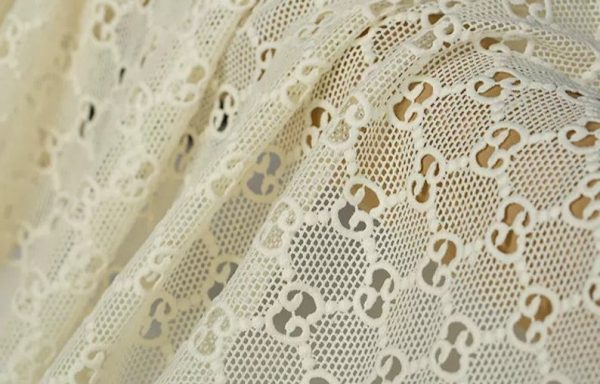 Gucci Embroidery Lace #2 in White/ Jacquard Polyester Designer Gucci Fabric/Gucci Fabric/Jacquard Couture Lace Fabric Also Available in Red 3
