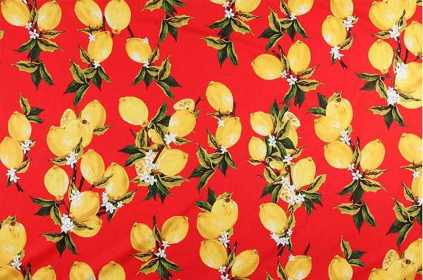 Italian Lemon print 100% Cotton Fabric/Dress Cotton Lemon print on red background/Designer Cotton Fabric/Lemon pattern cotton fabric 2