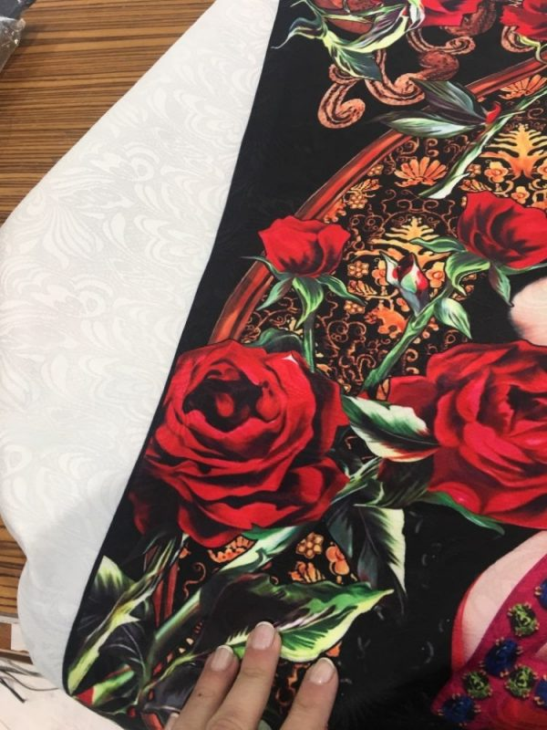 Designer Jacquard Mother of God Print Fabric/Dress Jacquard religious and floral Print/Madona Jacquard Polyester Haute couture fabric 10