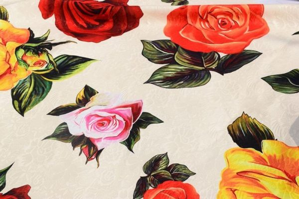 Jacquard Cotton NEW COLLECTION Pink Red Yellow Roses Digital Print/Very Good Quality/Haute Couture Fabric/Alta Moda fashion 2
