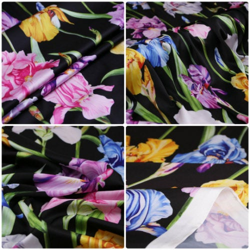 Iris Print Fabric Soft Silk Satin all Over on Black Background/Silk Satin Fabric Beautiful  Quality/Haute Couture Fabric 5