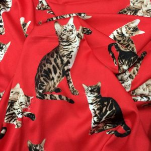 Silk Satin Stretch Fabric Very Good Qualit Cat  Digital Print Ornaments/Beautiful haute Couture fabric/Very soft silk
