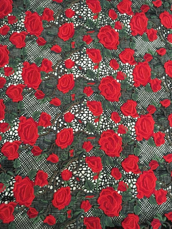 Lace Fabric Embroidered Mesh Red Roses/Italian Designer Roses Lace Fabric/Fashion Show Black and red rose embroidery fabric 4
