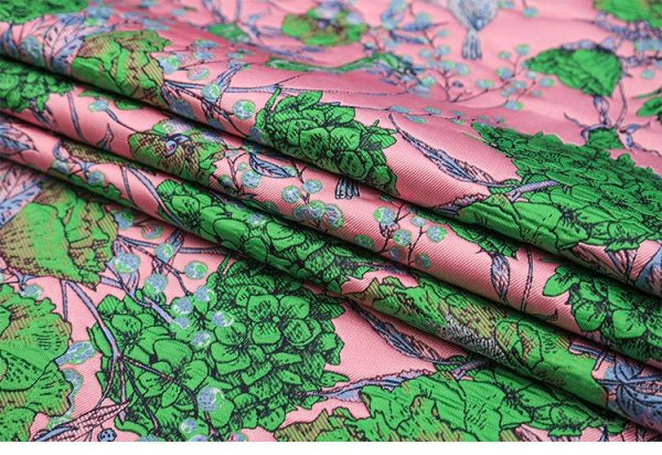 Gucci Fabric Jacquard Brocade Pink and Green Flowers and Birds Print VERY RARE Limited Edition/By order Only! Available in 5 colours 2