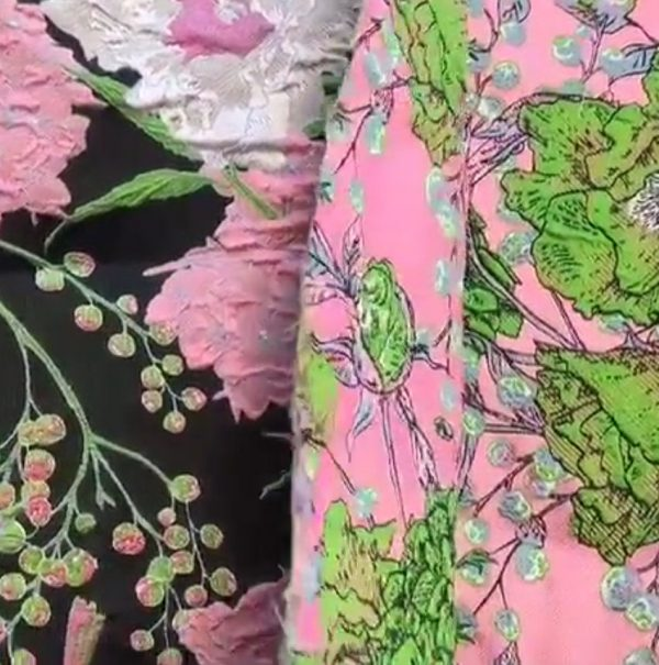 Gucci Fabric Jacquard Brocade Pink and Green Flowers and Birds Print VERY RARE Limited Edition/By order Only! Available in 5 colours 4