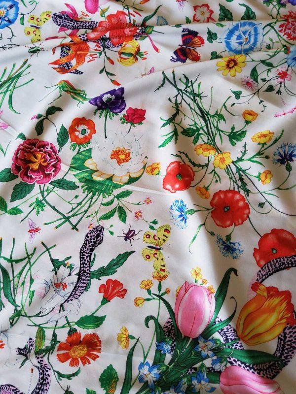Gucci Silk Satin Stretch Fabric #2 Dragonfly and lizard Digital Painted Fabric/Haute Couture Silk Satin Polyester Rural Flowers Print Silk 8 ⋆ Rozitta Rapetti