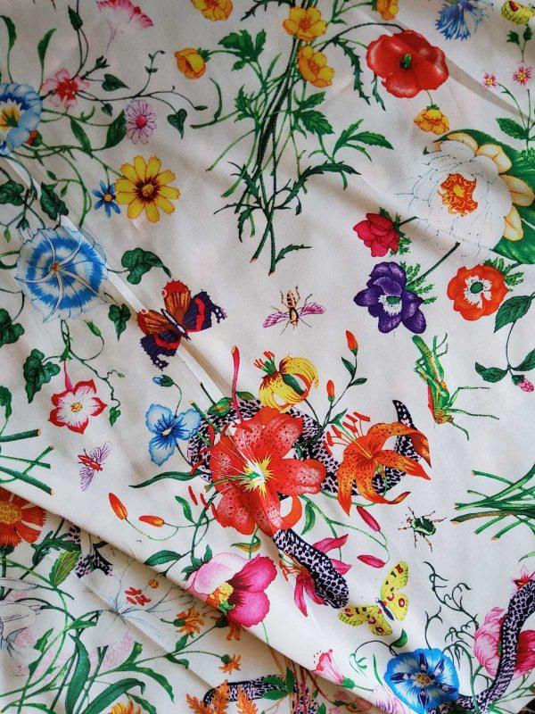 Gucci Silk Satin Stretch Fabric #2 Dragonfly and lizard Digital Painted Fabric/Haute Couture Silk Satin Polyester Rural Flowers Print Silk 5 ⋆ Rozitta Rapetti