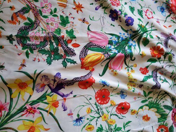 Gucci Silk Satin Stretch Fabric #2 Dragonfly and lizard Digital Painted Fabric/Haute Couture Silk Satin Polyester Rural Flowers Print Silk 9 ⋆ Rozitta Rapetti