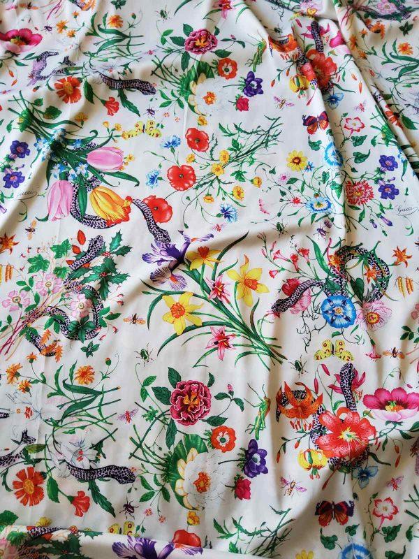 Gucci Silk Satin Stretch Fabric #2 Dragonfly and lizard Digital Painted Fabric/Haute Couture Silk Satin Polyester Rural Flowers Print Silk 6 ⋆ Rozitta Rapetti