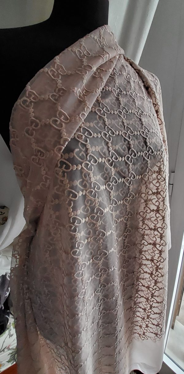 20191205 134303 Gucci Lace on cotton Fabric Powder Posh Blended Embroidered GG logo,Amazing Fabric! VERY RARE Limited by order Only! Price for 2meter 18