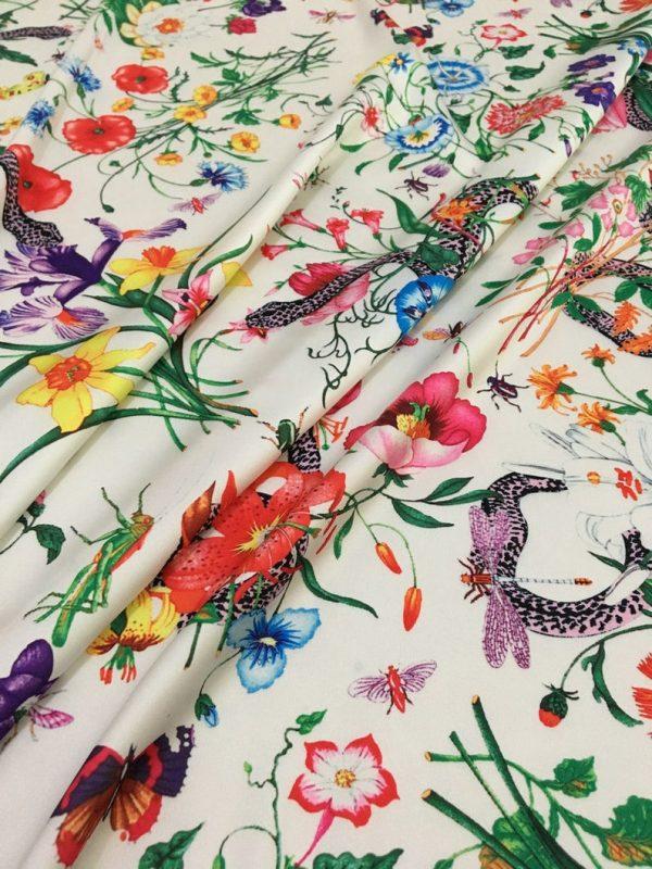 Gucci Silk Satin Stretch Fabric #2 Dragonfly and lizard Digital Painted Fabric/Haute Couture Silk Satin Polyester Rural Flowers Print Silk 4 ⋆ Rozitta Rapetti