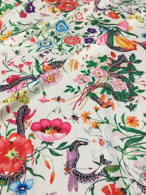 Gucci Silk Satin Stretch Fabric #2 Dragonfly and lizard Digital Painted Fabric/Haute Couture Silk Satin Polyester Rural Flowers Print Silk 3 ⋆ Rozitta Rapetti