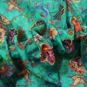Exclusive New Collection Oscar De La Renta #1 Mulberry Silk Crepe De Chine Italian GREEN Fabric/Haute Couture Fabric 100% Silk Digital Inkjet /Fashion Fabric