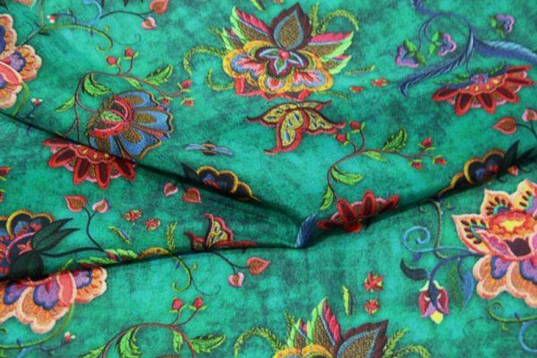 Exclusive New Collection Oscar De La Renta #1 Mulberry Silk Crepe De Chine Italian GREEN Fabric/Haute Couture Fabric 100% Silk Digital Inkjet /Fashion Fabric 6