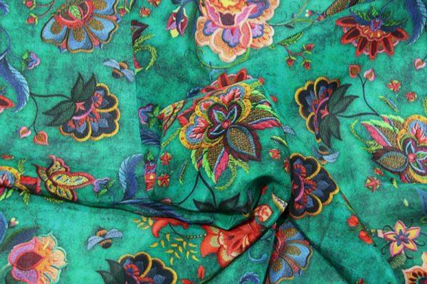 Exclusive New Collection Oscar De La Renta #1 Mulberry Silk Crepe De Chine Italian GREEN Fabric/Haute Couture Fabric 100% Silk Digital Inkjet /Fashion Fabric 8