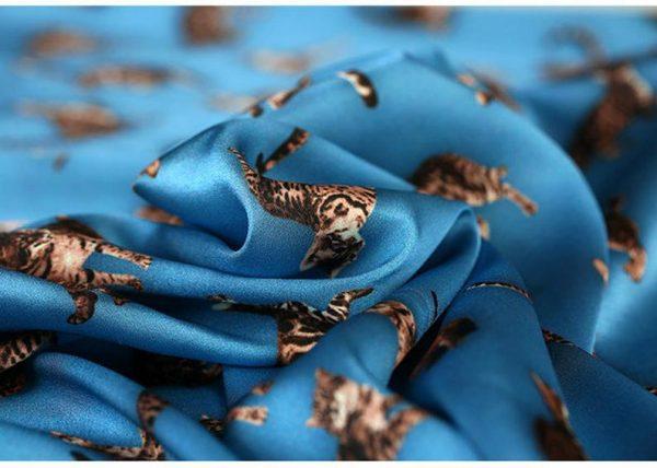 Italian GUCCI Silk Satin Stretch Fabric Rare Cat Digital Print Ornament/ Beautiful Elastic Silk Haute Couture fabric/Fashion Week Italian Fabric 9