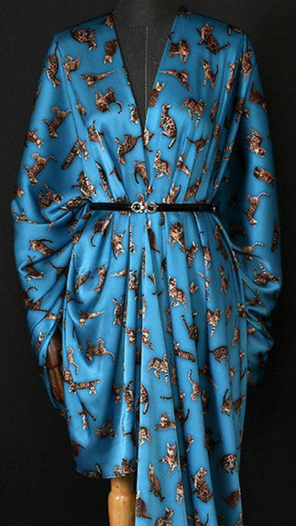 Italian GUCCI Silk Satin Stretch Fabric Rare Cat Digital Print Ornament/ Beautiful Elastic Silk Haute Couture fabric/Fashion Week Italian Fabric 3