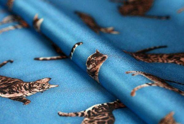 Italian GUCCI Silk Satin Stretch Fabric Rare Cat Digital Print Ornament/ Beautiful Elastic Silk Haute Couture fabric/Fashion Week Italian Fabric 7