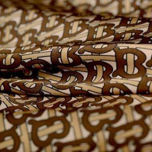 Haute Couture Italian Designer Mulberry Silk Double Crepe B print,COFFEE colour/Pure Mulberry Silk Fabric/Fashion show silk fabric