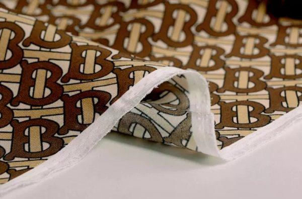 Haute Couture Italian Designer Mulberry Silk Double Crepe B print,COFFEE colour/Pure Mulberry Silk Fabric/Fashion show silk fabric 5