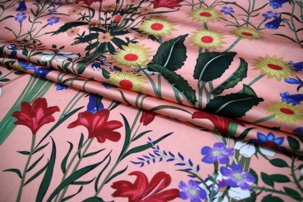 New Collection GG Designer Fabric #2Pink Silk Stretch Satin Italian Fabric/Haute Couture Fabric 100% Silk Digital Inkjet /Fashion Fabric 5
