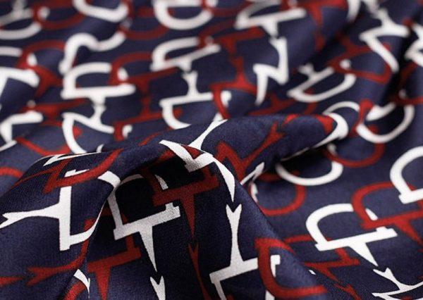 GUCCI Italian Designer Silk Crepe Fabric colour Navy Blue #2 100%Mulberry Silk Italian Fabric/Limited Quantity/Haute Couture GG Fashion Fabric 8