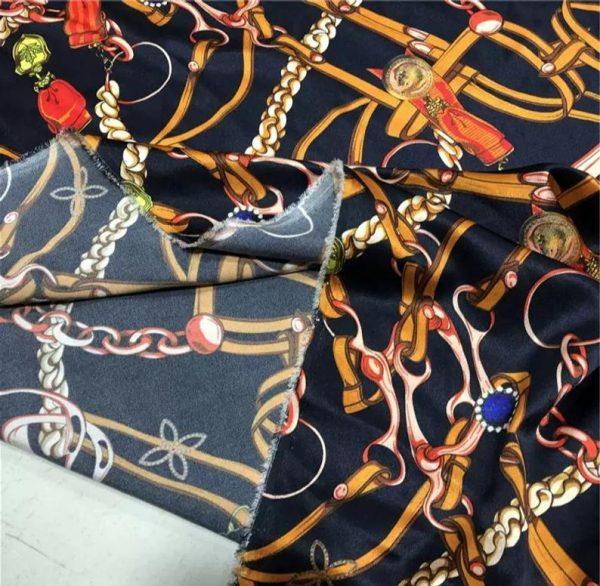 Silk Spandex Fabric Belt chain print/Alta moda Mulberry Silk 19momme Couture fabric/Chain print fabric/Natural Silk Fabric 7