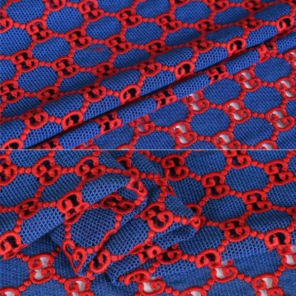 Gucci Embroidery Lace #1 Navy Red Fabric/ Cotton Italian Logo Embroidered Fabric/Gucci Fabric/Jacquard Couture Fabric Available in 6 colours 8