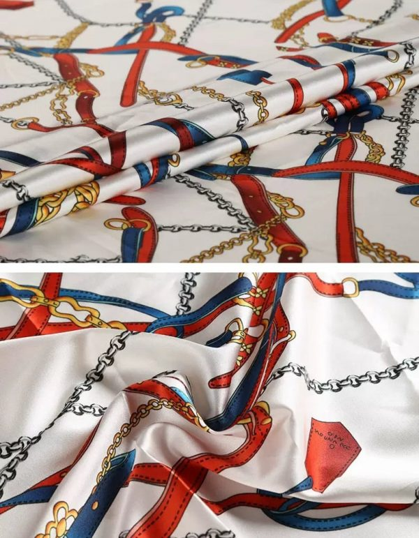 Silk Belt chain print/Alta moda Mulberry Silk 16 momme Couture fabric/Chain print fabric/Natural Silk Italian Fabric 10