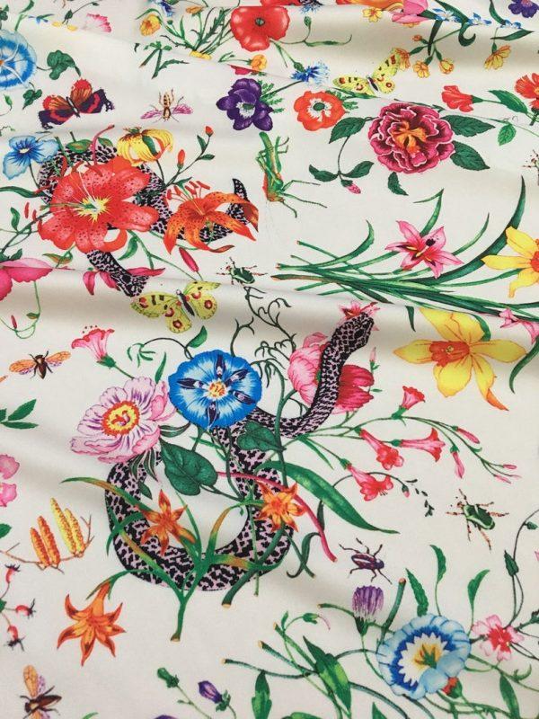 Gucci Silk Satin Stretch Fabric #2 Dragonfly and lizard Digital Painted Fabric/Haute Couture Silk Satin Polyester Rural Flowers Print Silk 1 ⋆ Rozitta Rapetti