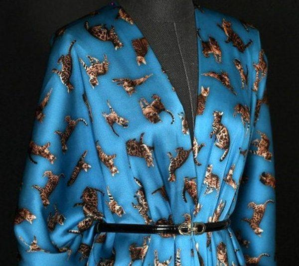 Italian GUCCI Silk Satin Stretch Fabric Rare Cat Digital Print Ornament/ Beautiful Elastic Silk Haute Couture fabric/Fashion Week Italian Fabric 4