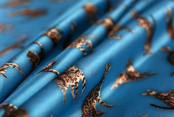 Italian GUCCI Silk Satin Stretch Fabric Rare Cat Digital Print Ornament/ Beautiful Elastic Silk Haute Couture fabric/Fashion Week Italian Fabric 5