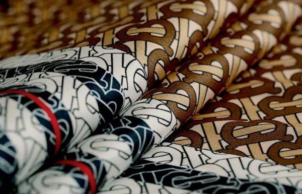 Haute Couture Italian Designer Mulberry Silk Double Crepe B print,COFFEE colour/Pure Mulberry Silk Fabric/Fashion show silk fabric 8