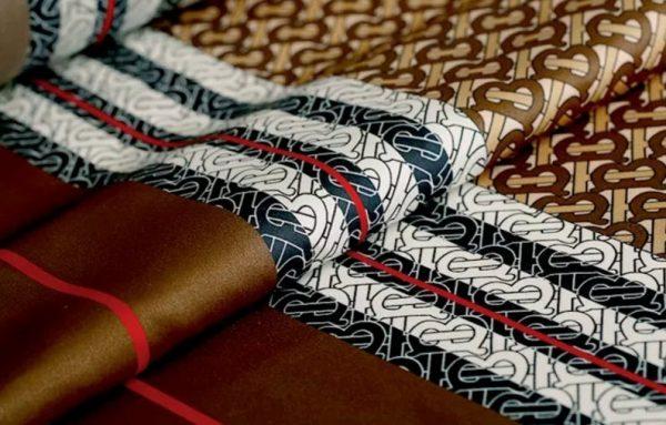 Haute Couture Italian Designer Mulberry Silk Double Crepe B print,COFFEE colour/Pure Mulberry Silk Fabric/Fashion show silk fabric 9