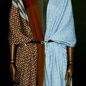 Haute Couture Italian Designer Mulberry Silk Double Crepe B print,BLUE colour/Pure Mulberry Silk Fabric/Fashion show silk fabric