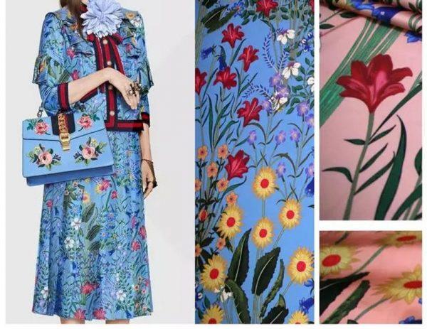 New Collection GG Designer Fabric #2Pink Silk Stretch Satin Italian Fabric/Haute Couture Fabric 100% Silk Digital Inkjet /Fashion Fabric 10