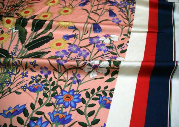 New Collection GG Designer Fabric #2Pink Silk Stretch Satin Italian Fabric/Haute Couture Fabric 100% Silk Digital Inkjet /Fashion Fabric 8