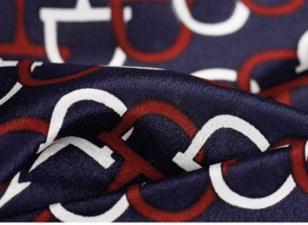 GUCCI Italian Designer Silk Crepe Fabric colour Navy Blue #2 100%Mulberry Silk Italian Fabric/Limited Quantity/Haute Couture GG Fashion Fabric 7