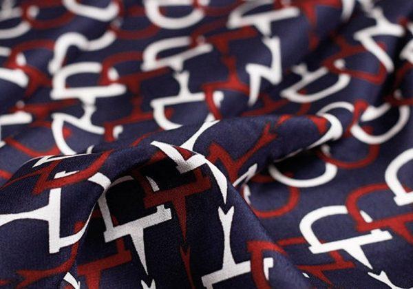 GUCCI Italian Designer Silk Crepe Fabric colour Navy Blue #2 100%Mulberry Silk Italian Fabric/Limited Quantity/Haute Couture GG Fashion Fabric 4