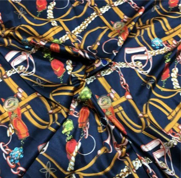 Silk Spandex Fabric Belt chain print/Alta moda Mulberry Silk 19momme Couture fabric/Chain print fabric/Natural Silk Fabric 5