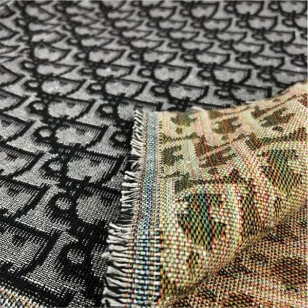 New! Designer Jaquard Cotton Fabric Tapestry Dior Brocade Woven fabric/ Haute Couture Jacquard Upholstery/Fashion Jacquard Tapestry BLACK #1 4